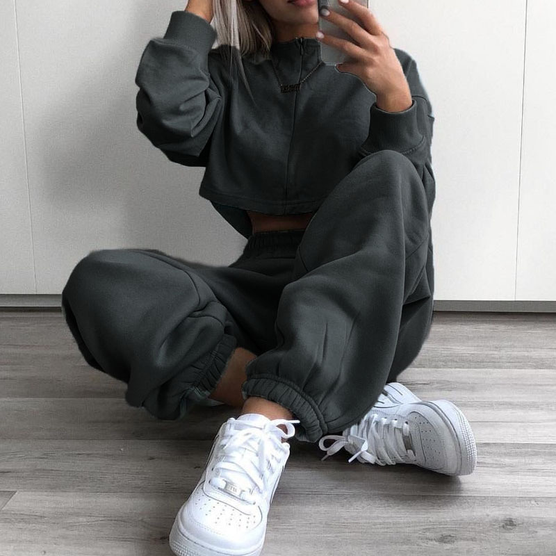 Cool Women High Waist Pants Solid Yellow Loose Joggers Female Trousers 19 Autumn Winter Track Pants Punk Capris Gray Yellow 1