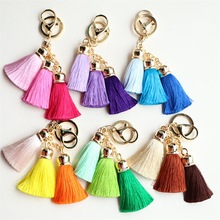 Hot selling Colorful Key Chain Bag AccessoriesIce Silk Tassel Pompom Car Keychain Handbag Key Ring