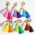 Hot selling Colorful Key Chain Bag AccessoriesIce Silk Tassel Pompom Car Keychain Handbag Key Ring