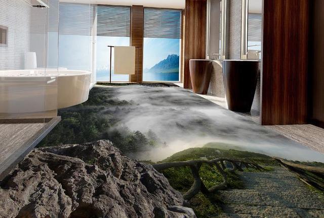 Custom 3d floor wonderland bos landschap behang vloer vinyl tegel