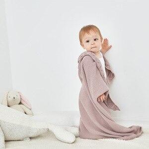 Image 4 - Bebek battaniye örme % 100% pamuk yenidoğan bebek kundak battaniyesi battaniye 100*80cm kış sıcak yürümeye başlayan bebek arabası yatak örtüleri