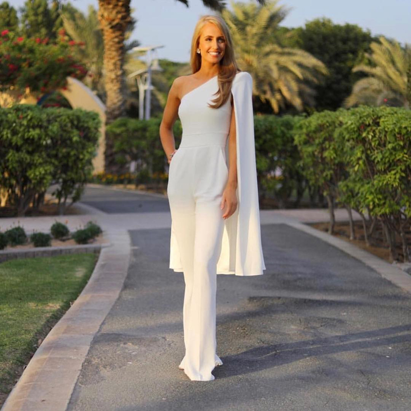 Fashion Black White One Shoulder Summer Jumpsuit 2018 High Quality Bodycon Solid Elegant Evening Party Jumpsuits Drop Shipping
