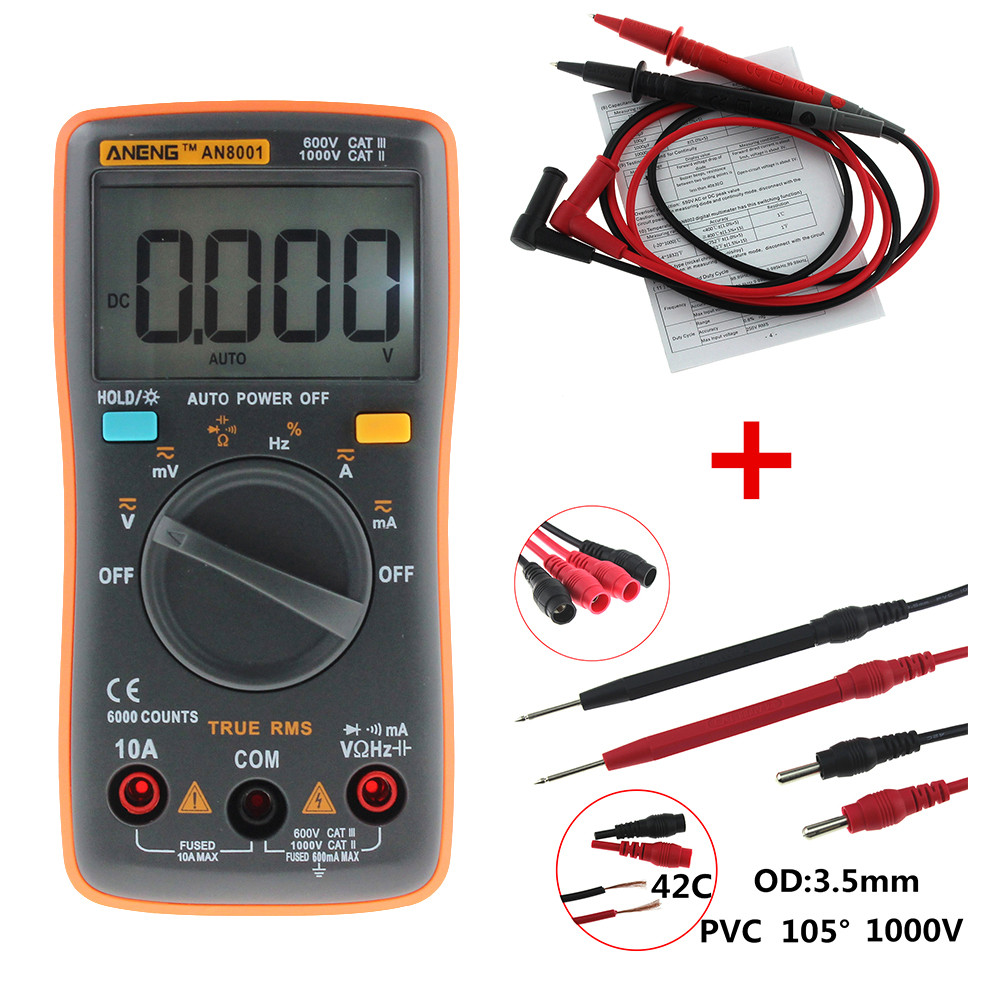 Line Powered Digital Voltmeter : Aneng an and combination line lcd digital multimeter