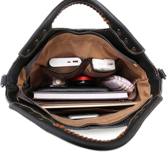 Nuleez Vintage Ladies Handbag Genuine Leather Bag Handmade Classic Women handbag Black Shoulder Bag Tote Bag With Strap New 1222