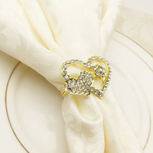 5PCS golden heart-shaped napkin ring button alloy mouth cloth