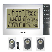 DYKIE Top Selling Digital Termometer Humidity Wireless Weather Station Desktop Clock with Sauna Trasmitters And 3 Outdoor Sensor