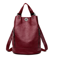 Женский кожаный рюкзак, винтажный вместительный дорожный рюкзак, школьная сумка, 2019