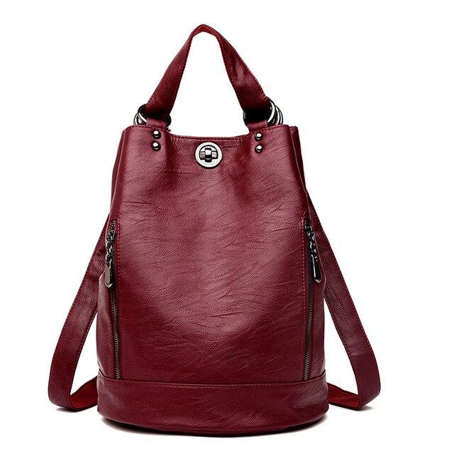 2019 frauen Leder Rucksäcke Große Kapazität Reise Rucksack Sac a Dos Femme Weibliche Vintage Rucksack Damen Bagpack Schule Tasche