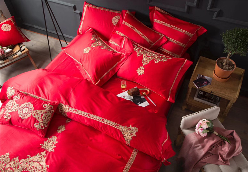 Etonnant New 4/7pcs Egypt Cotton Bright Red Luxury Bedding Set Queen/King Size  Embroidery Bed Set Duvet Cover Bed Linen Pillowcases In Bedding Sets From  Home ...
