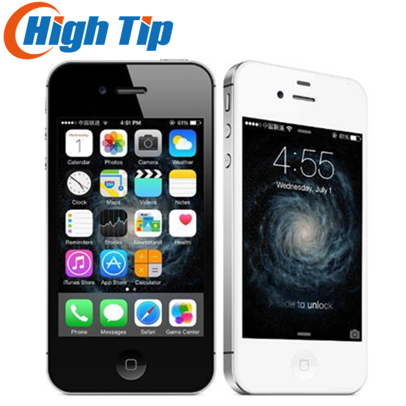 Бесплатный подарок! Оригинальный Apple iphone 4S завода разблокирована 8 ГБ/16 ГБ/32 ГБ/64 Гб мобильный телефон 3G GSM Wi-Fi GPS 8MP 3,5 ''сенсорный экран iOS б/у