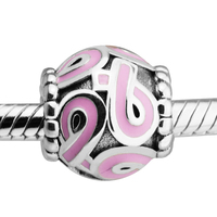 925 Sterling Silver Jewelry Beads For Women DIY Fits FANDOLA Bracelet Charms Pink Ribbon Silver Charm
