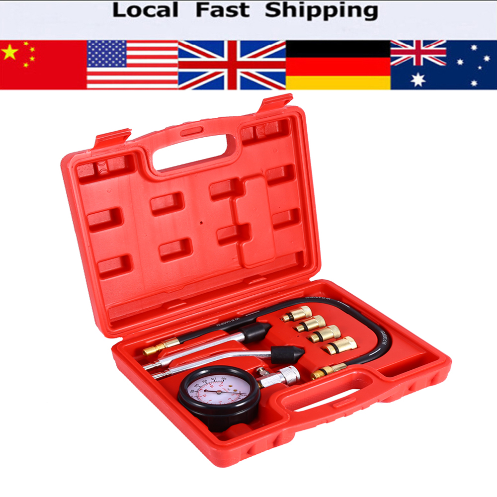 9pcs/set 0-300 PSI 0-20 bar Automotive Petrol Engine Pressure Gauge Manometer Compression Tester Tool Set Car Diagnostic-Tool