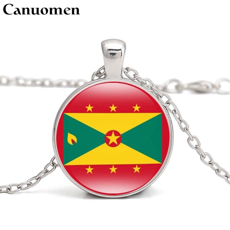 Canuomen Grenada Flag Pendant Necklace Caribbean Country Dominica Dominique Cuba Haiti Kn I Love Hometown Men Women Jewelry Delaying Senility