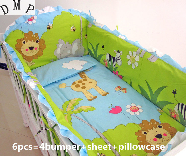 Promotion! 6PCS Bedding Set For Baby Green Color With Character Baby Crib Bed Set ,include(bumpers+sheet+pillow cover)