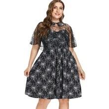 8003b9498dc Для женщин платья паутина Пэн Половина рукава Хэллоуин вечерние платье  Vestido Mujer плюс Размеры сетки мыс и Cami Dress