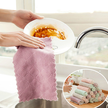 5P Kitchen Furniture Health Double-sided Dishcloth Non-stick Oil Hand Towel Thickening Tablecloth Lint-free Cleaning Cloth