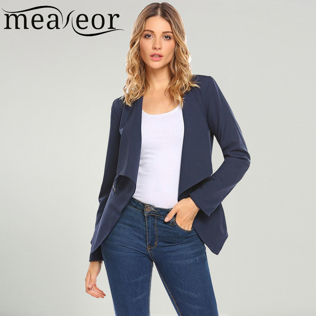 b3f62135257 Meaneor Women Solid Long Sleeve Slim Fit Casual Ladies girl Formal Blazer  Jacket Open Cardigan for office work interview Tops