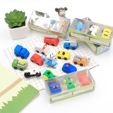 3pcs/lotCartoon engineering car box eraser children stationery gift prizes  kawaii school supplies papelaria Free shipping