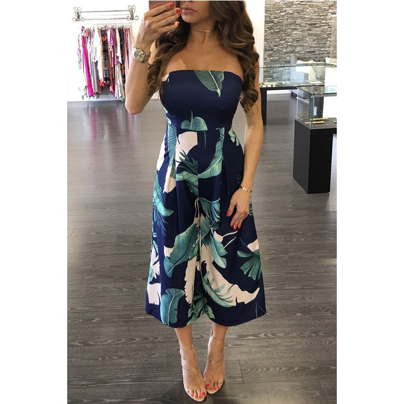 Wide Leg Jumpsuit Printed Plus Size Rompers Floral Womens Jumpsuit Overal One Piece Overalls For Women Elegant Barboteuse Mujer