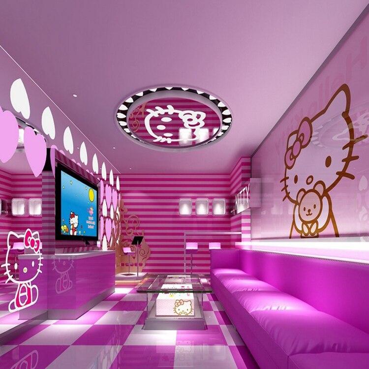 desain cekatan warna pink hello kitty kucing wallpaper 3d ruang anak mural