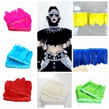 Multi Color Goose feather trims 2 Meters Dyed geese ribbons /15-20cm fringes High Quality DIY Decorative
