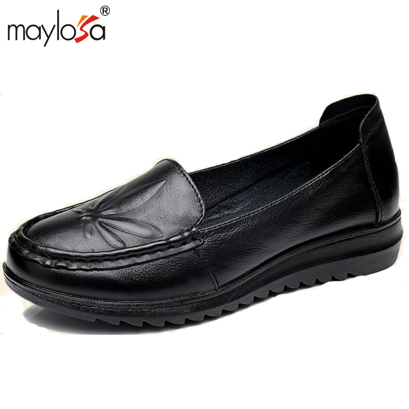 MAYLOSA women Soft Moccasins casual shoes High Quality  Brand Genuine Leather  flats Flats Driving Shoes top brand high quality genuine leather casual men shoes cow suede comfortable loafers soft breathable shoes men flats warm