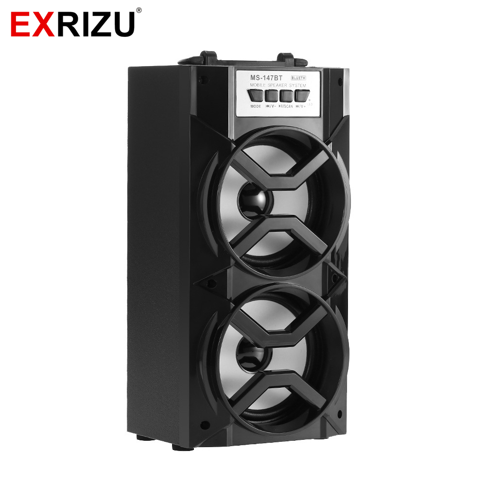 EXRIZU Outdoor Bluetooth Speakers LED Pulse Portable Wireless Speaker Dual Loudspeaker Stereo Bass Sound Subwoofer FM USB TF AUX
