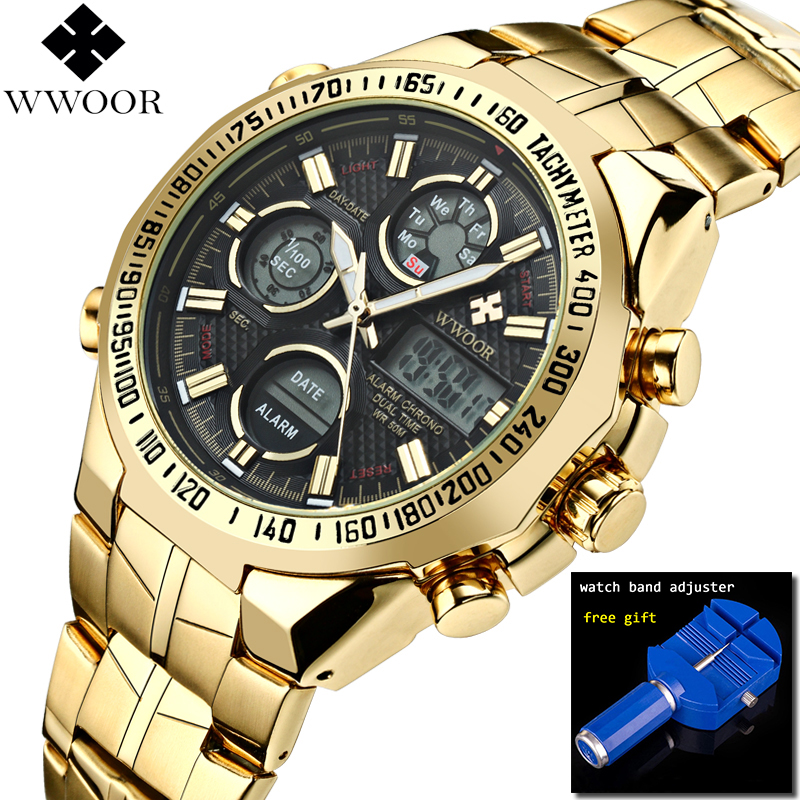 2018 Relogio Masculino Big Dial Gold Quartz Mens Watch Top Brand Luxury Golden Stainless Steel WristWatches Male Clock for Men