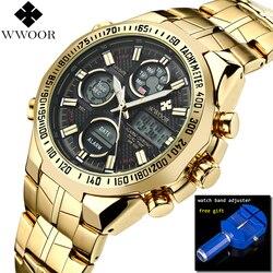 Relogio Masculino WWOOR Watch Men 2019 Top Brand Luxury LED Big Men's Gold Sport Wrist Watches Waterproof Gift Watch For Men