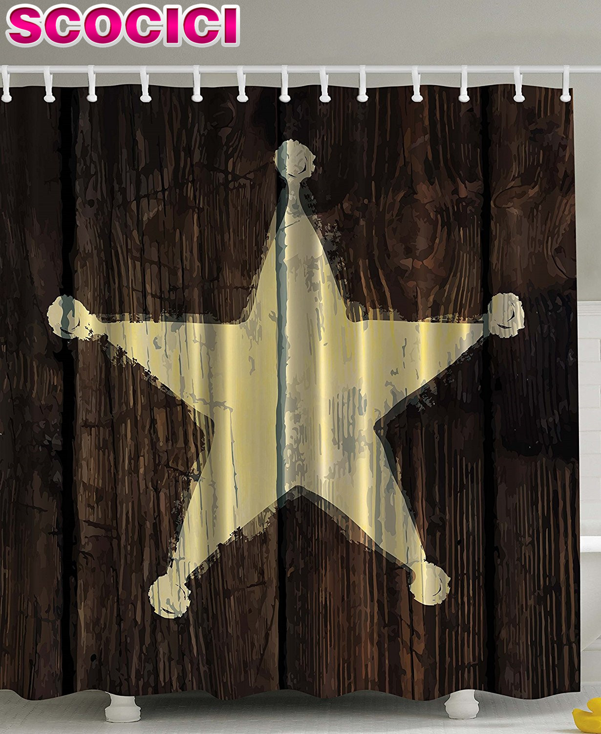 Country western shower curtains - Western Country Shower Curtain Decor Southwestern Primitive Rustic Wooden Lone Star Sheriffs Badge Five Point Antiqued Look Army