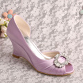"Wedopus Fashion Lavender Peep Toe Pleated 3.5"" Wedge Heels Satin Prom Women Wedding Bridal Shoes"