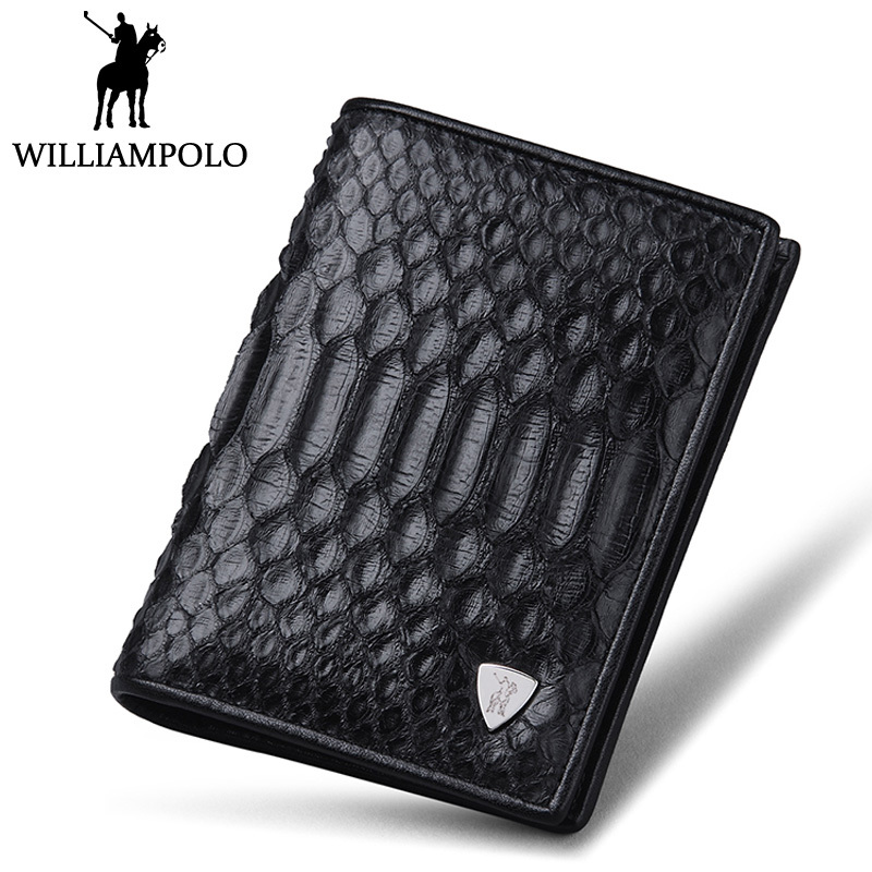 WILLIAMPOLO High-end Real Snakeskin Wallet Men Fashion Short Male Purse Genuine Leather Python skin Bifold Wallet Card Holder williampolo mens mini wallet black purse card holder genuine leather slim wallet men small purse short bifold cowhide 2 fold bag