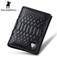 WILLIAMPOLO High end Real Snakeskin Wallet Men Fashion Short Male Purse Genuine Leather Python skin Bifold Wallet Card Holder