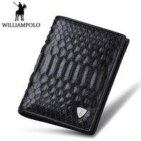 Williampolo высокого класса реального змеиной бумажник Для мужчин модные короткие мужской кошелек из натуральной кожи питона Кошелек двойного с