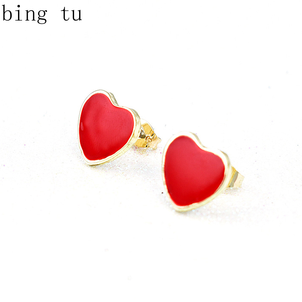 Bing Tu Brand Elegant Women Red Earrings Classic Lover Heart Stud Earring  Valentine's Gift Gold Color