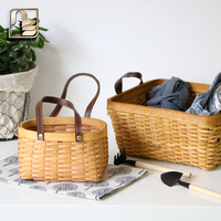 European Natural Fir Handmade Woven Handle Baskets Flower Tableware Container Picnic Shopping Storage Basket Food Snacks