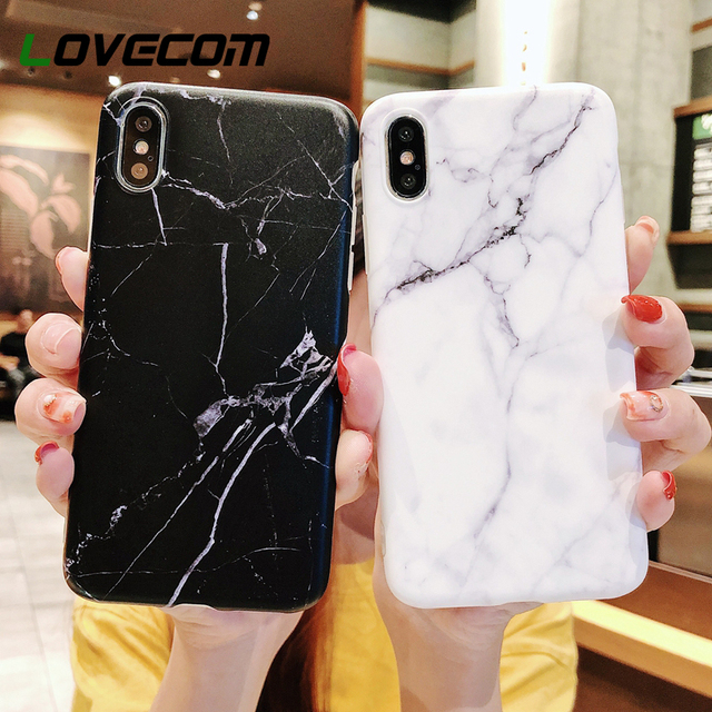innovative design dbb04 3c500 US $0.89 20% OFF|LOVECOM For iPhone 6 6S 7 8 Plus X XS MAX XR Case Black  White Marble Soft IMD Mobile Phone Back Cover Case Bags -in Fitted Cases  from ...
