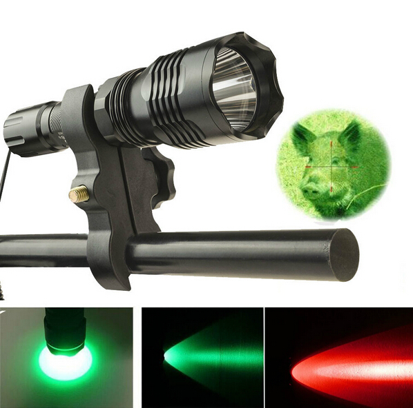 ФОТО 800LM Green / Red Light 200M Long Range  LED Linterna Flashlight  For Hunting Hogs Games + Gun Mount and Tactical Remote Switch