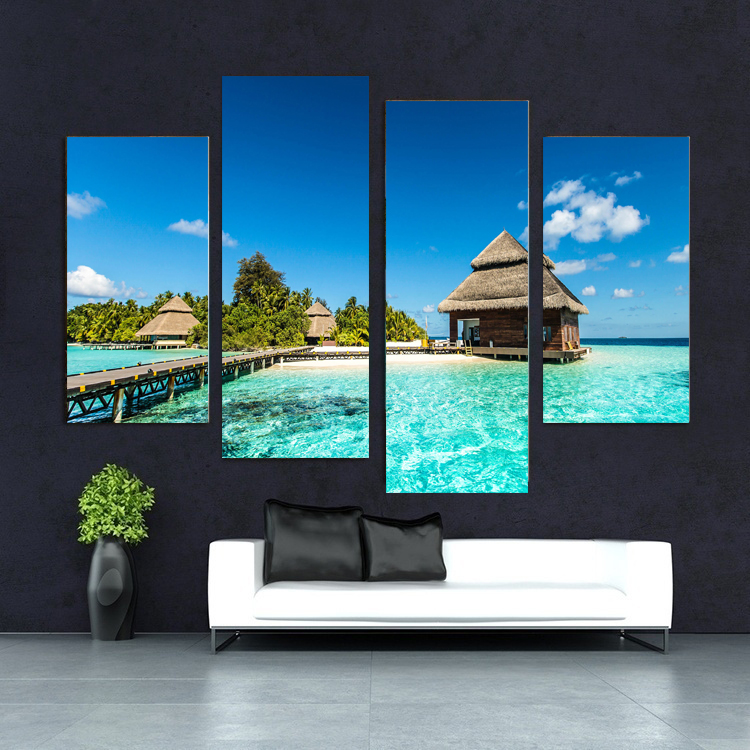 Wall Art Maldives Tropical Island With Beach Villas Beach Seascape Print On Canvas for Wall Decor 4 pieces NO Frame