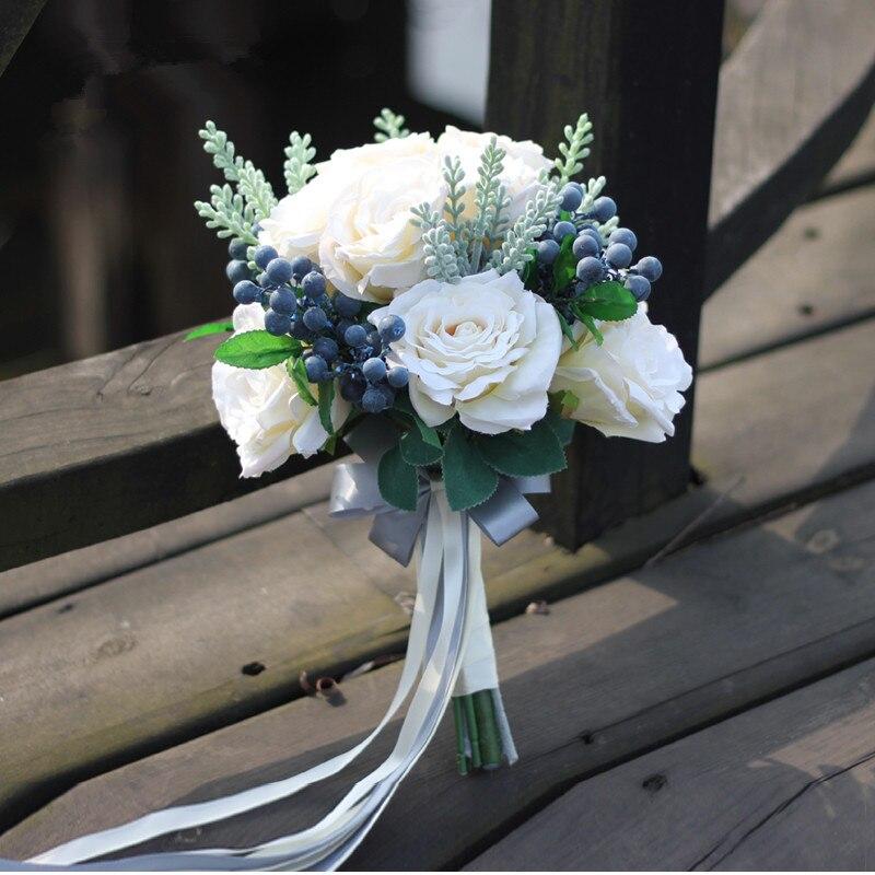 Fleur de mariage ensemble mariage mariée main Bouquet Simulation fleur événement fête fleur décorative mariage photographie photo accessoires
