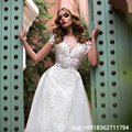 New Fashion Applique Mermaid Wedding Dresses With Detachable Train See Through Back Bridal Gown Wedding Gown vestido de noiva