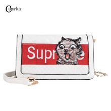 CUMYKA Small Chain Animal Handbag Women 2019 New Embroidery Fashion Flap Cat Single Shoulder Summer Mini Crossbody Bags