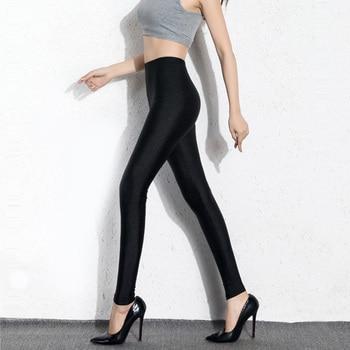BIVIGAOS Womens Sexy Shiny Stretch Leggings Thin Ankle Pants Legins Slim Black Leggings Gothic Trousers For Women Clothing 4