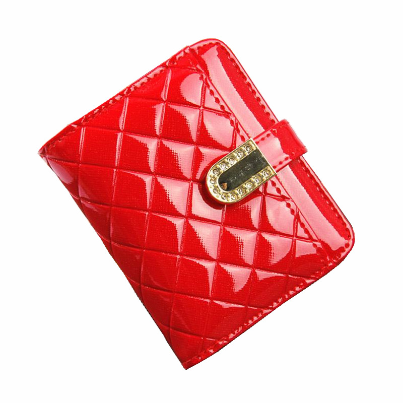 Patent Leather Womens Wallets Female Small Wallet Mini hasp Plaid Women Short Coin Purse Holders Clutch Girl Money Bag rt145 стоимость