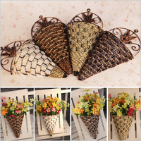 Rattan Wall Hanging Wall Mounted Vase for Artificial Flowers Plants Table Wedding Party home decoration flower vase HP013