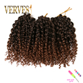 brown crochet braids hair synthetic Kinky Twist 3 piece/set 8 inch kinky style ombre braiding hair curly Crochet Hair Extensions