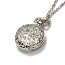 YCYS-Кварц Подвеска Карманные Часы Сеть Серебра Сплава Арабскими Цифрами Сова