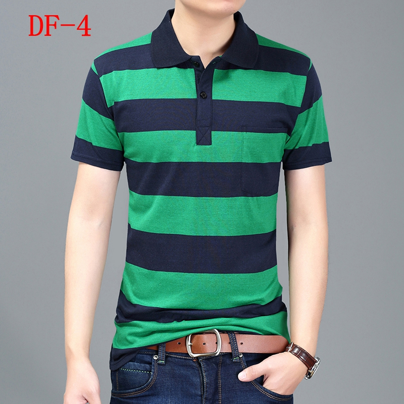 wholesale 2018 new fashion short-sleeve shirt loose summer turn-down collar stripe men clothing   polo   shirt