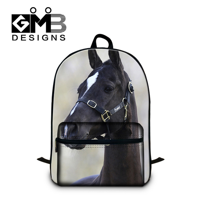9cd4b828c74 Horse 3D printing backpacks for college with front big pocket,school bags  with laptop compartment for boys,men fashion back pack