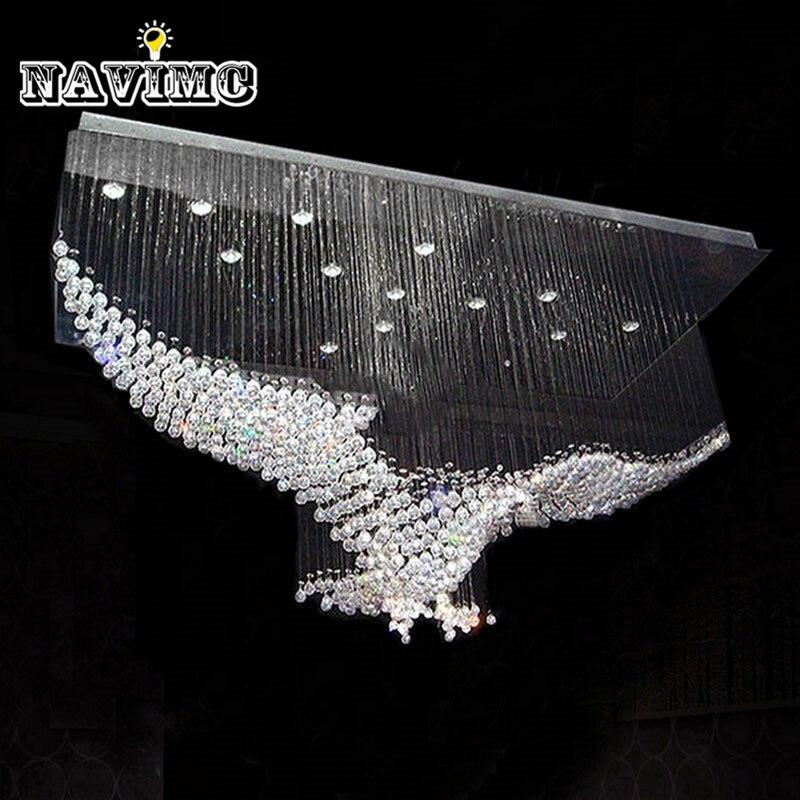 Новые Орлы роскошный дизайн современный хрустальные люстры блеск зал светодио дный огни Cristal лампы L100 * W55 * H80cm 110 В-220 В